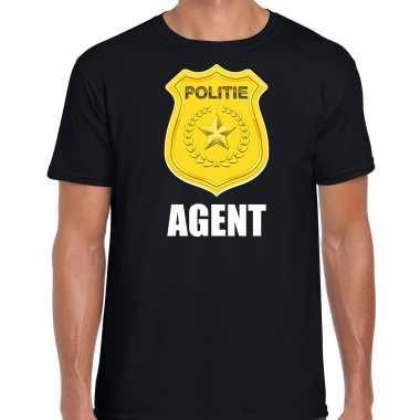 Agent politie embleem carnaval t-shirt zwart voor heren
