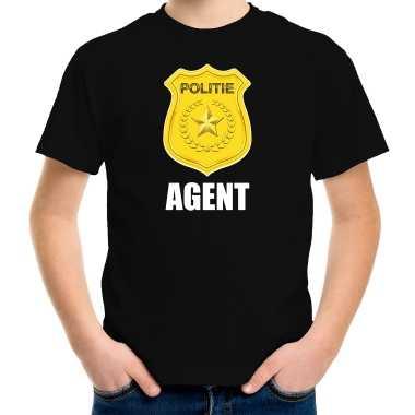 Agent politie embleem carnaval t-shirt zwart voor kinderen