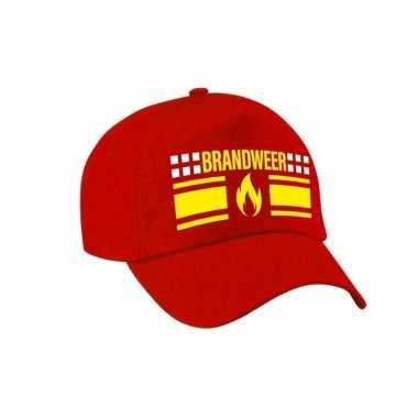 Brandweer met vlam verkleed pet / carnaval pet voor volwassenen