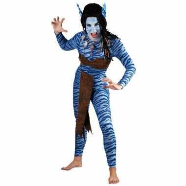Carnaval Blauwe jungle strijdster pak voor vrouwen