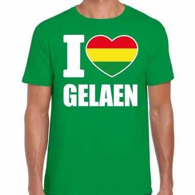 Carnaval i love gelaen t-shirt groen voor heren