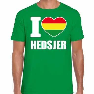 Carnaval i love hedsjer t-shirt groen voor heren