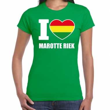 Carnaval i love marotte riek t-shirt groen voor dames