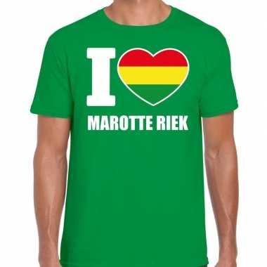 Carnaval i love marotte riek t-shirt groen voor heren
