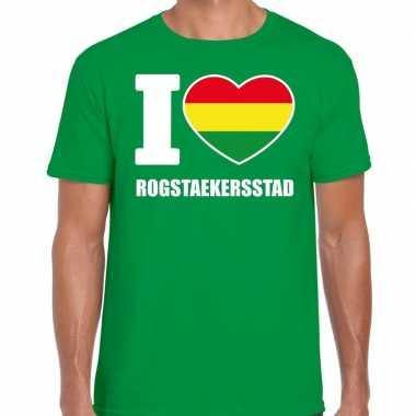 Carnaval i love rogstaekersstad t-shirt groen voor heren