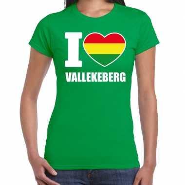 Carnaval i love vallekeberg t-shirt groen voor dames