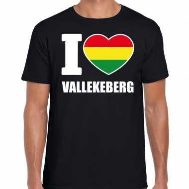 Carnaval i love vallekeberg t-shirt zwart voor heren