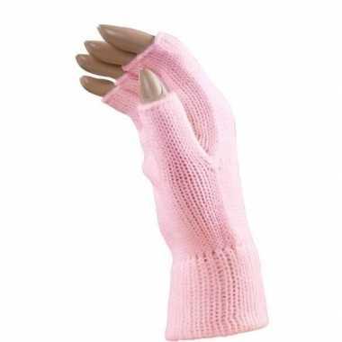 Carnaval lichtroze polsjes/handschoenen vingerloos voor volwassenen
