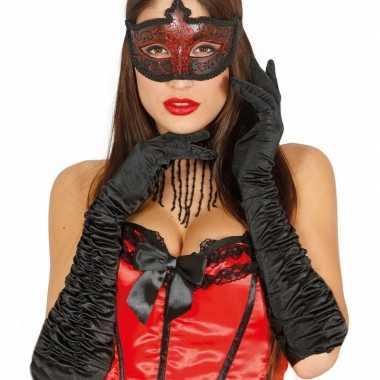 Carnaval satijnen zwarte gala handschoenen
