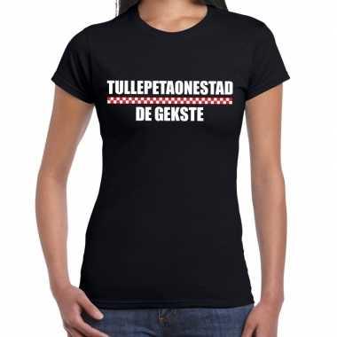 Carnaval tullepetaonestad de gekste t-shirt zwart voor dames