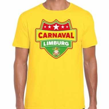 Carnaval verkleed t-shirt limburg geel voor heren