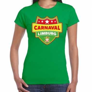 Carnaval verkleed t-shirt limburg groen voor dames