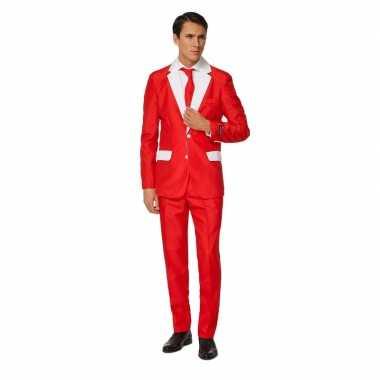 Carnavals heren pak kerstman kostuum print