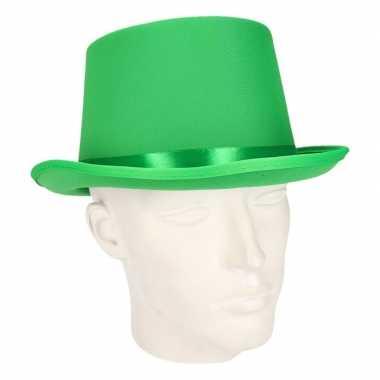 Carnavals luxe hoge hoed groen