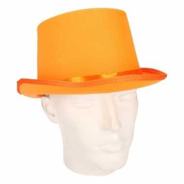 Carnavals luxe hoge hoed oranje