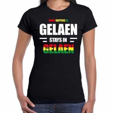 Geleen/gelaen carnaval outfit / t- shirt zwart dames