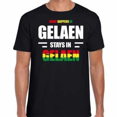 Geleen/gelaen carnaval outfit / t- shirt zwart heren