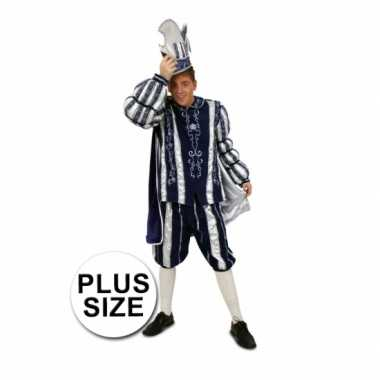Grote maten prins carnaval outfit blauw/wit