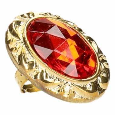 Koning / koningin carnaval ring met grote rode diamant