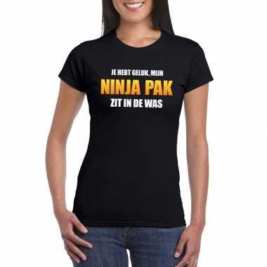 Ninja pak zit in de was dames carnaval t-shirt zwart