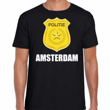 Politie embleem amsterdam carnaval verkleed t-shirt zwart voor heren