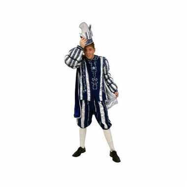 Prins carnaval outfit blauw/wit