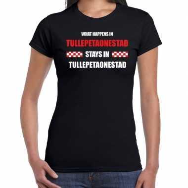 Roosendaal/tullepetaonestad carnaval t- shirt zwart dames