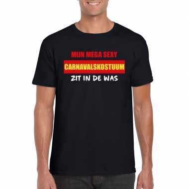 Sexy carnavalskostuum zit in de was heren t-shirt zwart